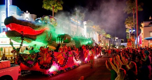 King Gator Float at Mardi Gras Parade on Hollywood Blvd at Universal Studios Florida